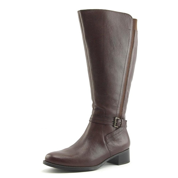 Naturalizer Wynnie Wide Calf Women WW Round Toe Leather Brown Knee High Boot