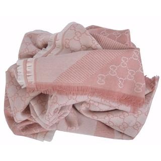 Gucci 281942 XL Wool Silk Pink GG Guccissima Logo Scarf Shawl Wrap 53 x 53