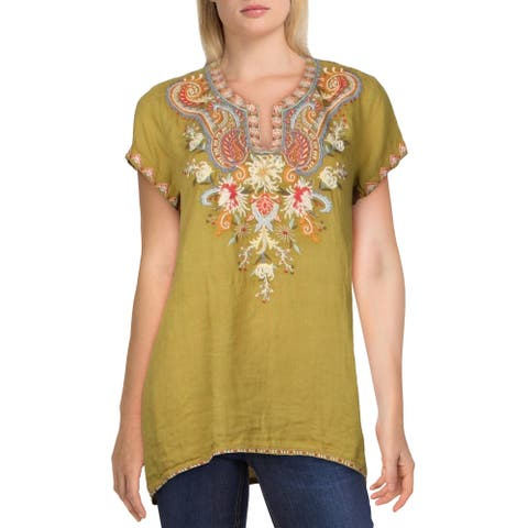 Johnny Was Womens Tikal Tunic Top Ramie Embroidered - Viper