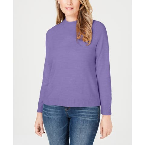 Karen Scott Women's Zip-Back Mock-Neck Sweater Purple Size X-Large