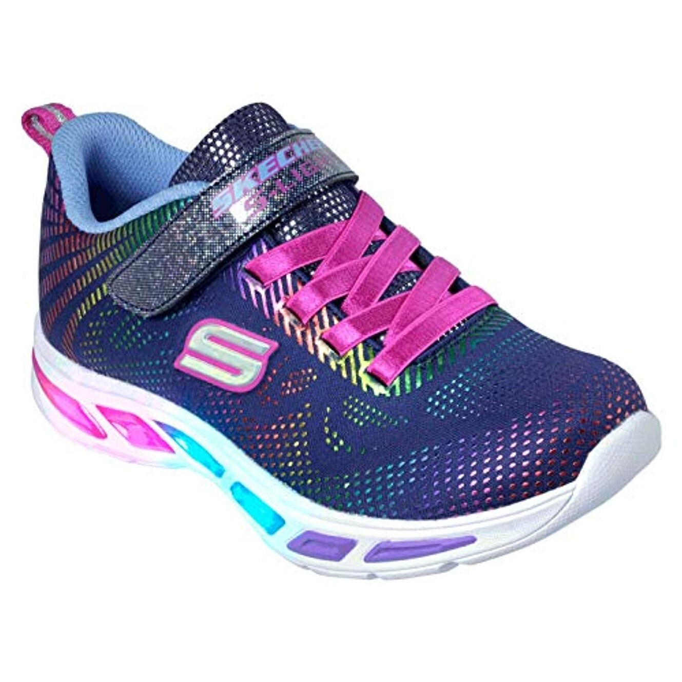 Skechers Kids Girls' Litebeams Gleam N'dream Sneaker, NavyMulti, 11.5 Medium Us Little Kid