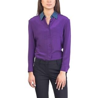 Prada Women's Silk Blouse Shirt Two Tone