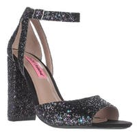 Betsey Johnson Glissten Ankle Strap Sandals, Black Glitter