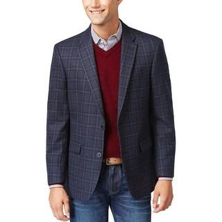 Tommy Hilfiger Ethan Navy Blue Wool Plaid Sportcoat Blazer 36 Regular 36R