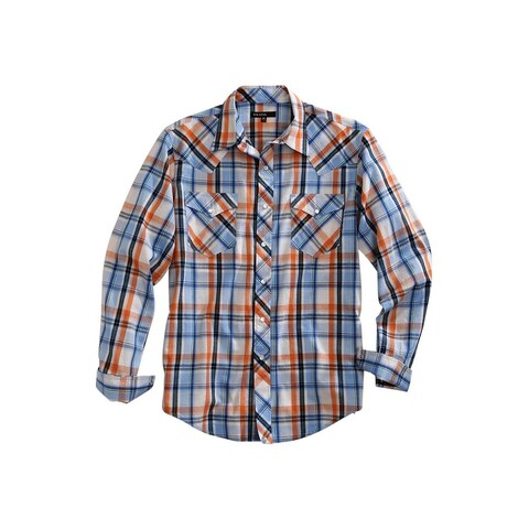 Tin Haul Western Shirt Men L/S Snap Plaid Blue