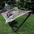 Sunnydaze 2-Person Polyester Rope Hammock with Spreader Bars and Pillow - Hammock Stand Included - Thumbnail 5