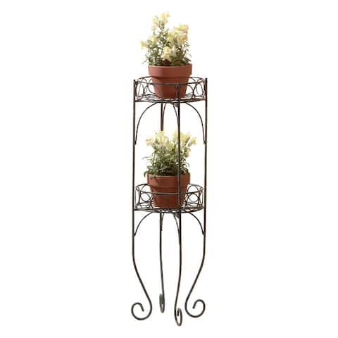 Decorative Two-tier Plant Stand - Black