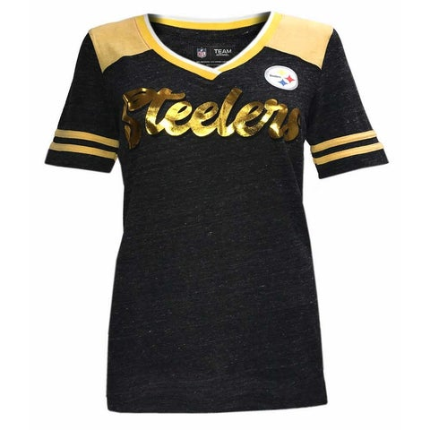 New Era Women's NFL Pittsburgh Steelers V-Neck T-Shirt Short Sleeve Tee ONT5GO
