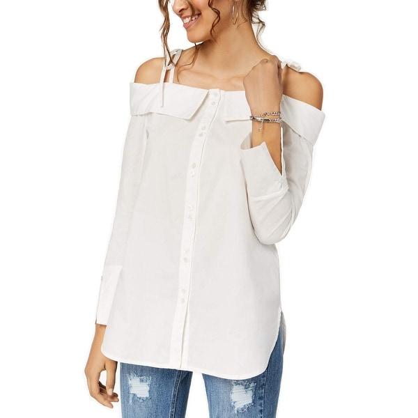 92620c00ada XOXO White Women's Size Small S Off-Shoulder Button Poplin Blouse