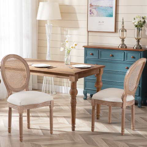 Set of 2 Fabric Upholstered Dining Chair-Beige