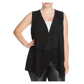 Calvin Klein Womens Plus Casual Vest Suede Draped