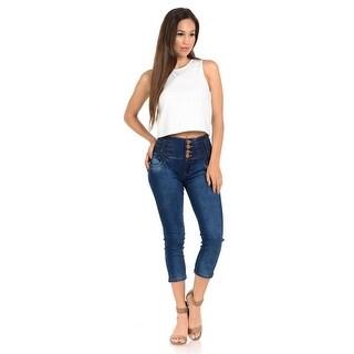 M.Michel Women's Capri Pants Butt Lift -N2127- Color -Blue - Size - 7