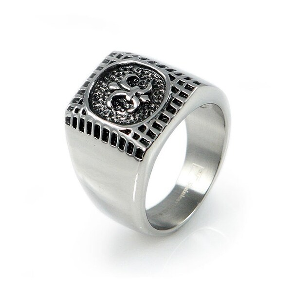 Stainless Steel Men's Fleur De Lis Ring