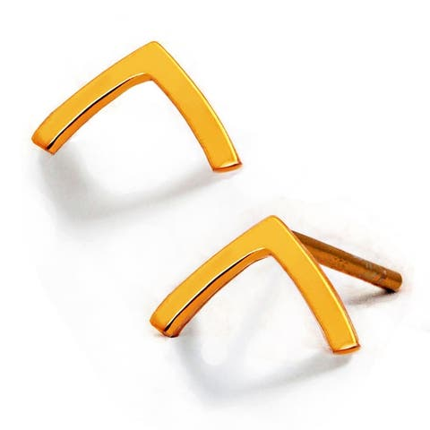 TRILL 2-Way Convertible 18K Gold Vermeil Wish Bone Stud Earrings