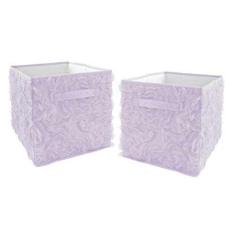 Purple Floral Rose Foldable Fabric Storage Bins - Solid Lavender Flower Luxurious Elegant Princess Vintage Boho Shabby Chic Glam