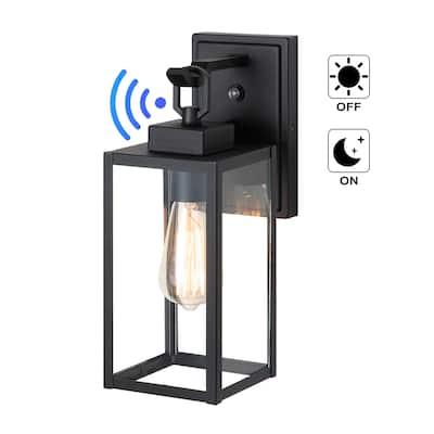 """1-Light Matte Black Dusk to Dawn Outdoor Wall Lantern Sconce with Clear Tempered Glass - W 5"""" x E 7-3/8"""" x H13-5/8"""""""