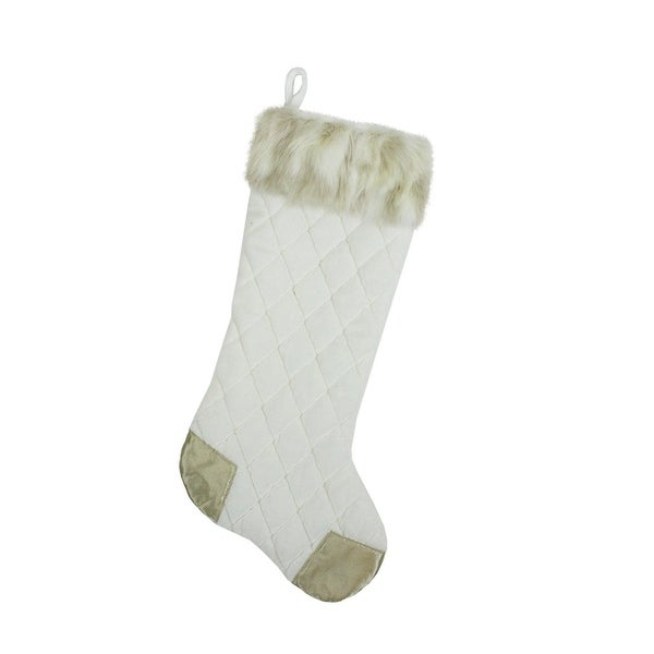 "20.5"" Quilted Cream and Tan Velveteen Christmas Stocking with Faux Fur Cuff - WHITE"