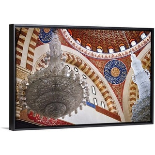 """""""Chandelier and domed ceiling detail of the Mohammed al-Amin Mosque"""" Black Float Frame Canvas Art"""