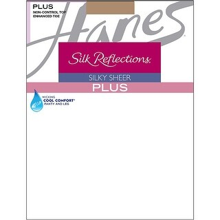 Hanes Silk Reflections Plus Enhanced Toe Sheer Pantyhose - Size - 3P - Color - Barely There