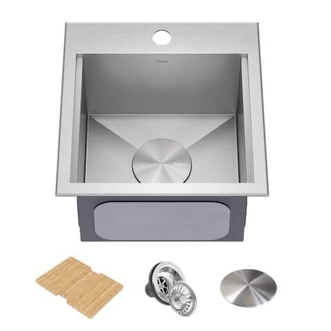 Kraus 15 in. Topmount Workstation Stainless Steel Outdoor Kitchen Sink