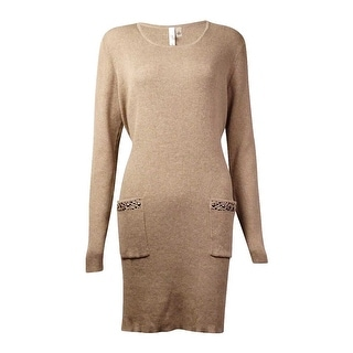 NY Collection Women's Studded Pocket Tunic Sweater