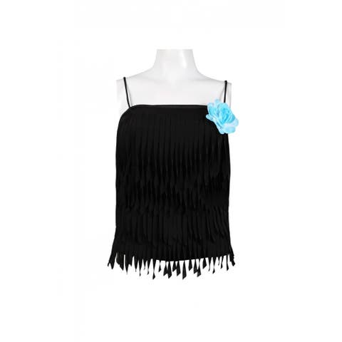 JS Collections Tiered Taffeta Top with Floral Detail