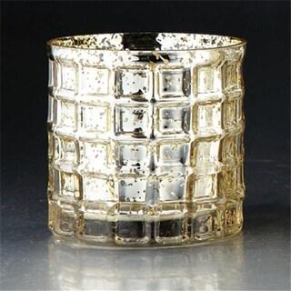 Diamond Star 57052 4.5 x 5 in. Glass Vase Candleholder, Gold