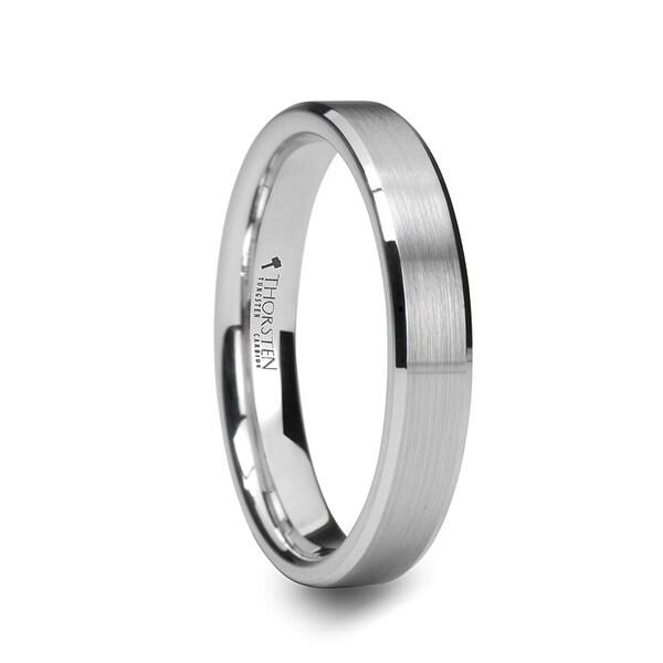 THORSTEN - SAIRA White Tungsten Wedding Band with Polished Beveled Edges and Center Brush Finish - 4mm