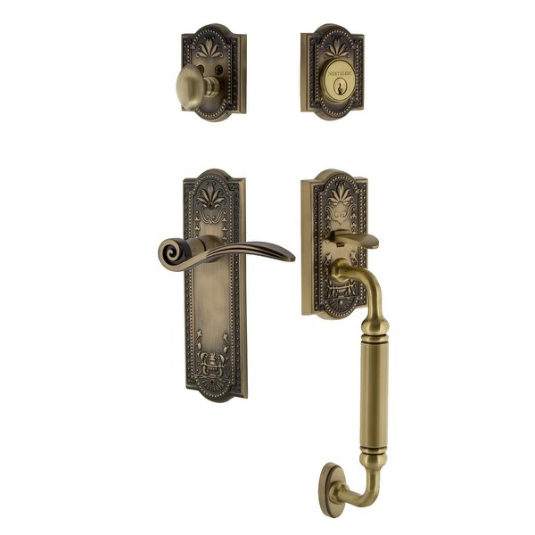 Nostalgic Warehouse MEASWN_ESET_238_CG_RH Meadows Right Handed Sectional Single Cylinder Keyed Entry Handleset with C Grip and