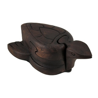 Hand Carved Wooden Turtle Puzzle and Trinket Box