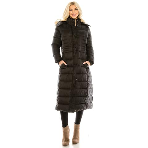 Haute Edition Women's Maxi Length Quilted Puffer with Fur Lined Hood