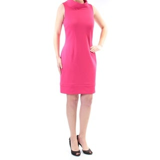 Womens Pink Sleeveless Above The Knee Sheath Wear To Work Dress Size: 16