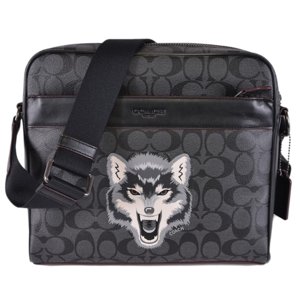 824afa7450d0 Coach Men  x27 s F31337 Wolf Pattern Signature Charles Camera Messenger Bag  - 11