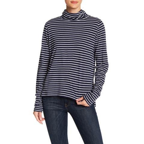 Abound Women White Large Turtleneck Stripe Long Sleeve Knit Top