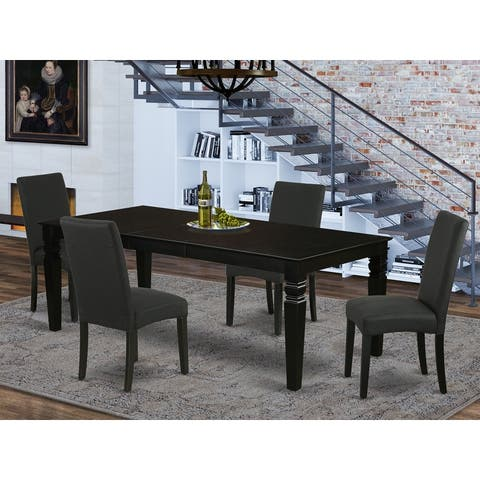 Rectangular 66/84 Inch Table and Parson Chairs in Black Linen Fabric (Number of Chairs Option)