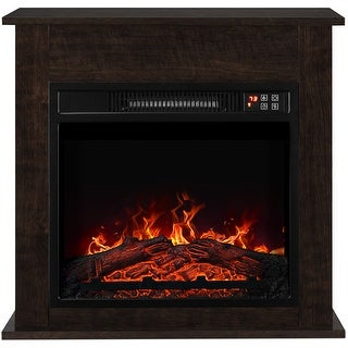 "BELLEZE 1400W 18"" Deluxe Electric Fireplace Mantel Heater Insert Freestanding Portable Stove w/Remote Control Dark Wood"