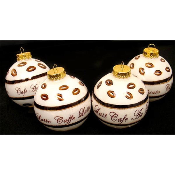 Set of 4 Coffee Break White Glass Ball Christmas Ornaments 3""