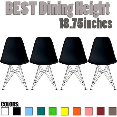 2xhome Set of 4 Designer Plastic Color Dining Side ChairMolded Shell Wire Metal Chrome Base Retro Eiffel Kitchen Desk Work