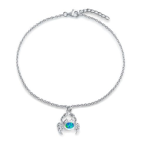 Nautical Beach Crab Created Blue Opal Dangle Charm Anklet Link Ankle Bracelet 925 Sterling Silver 9 to 10 Inch Extender