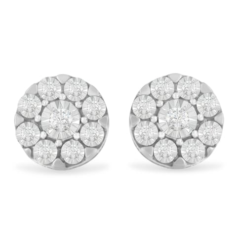 .925 Sterling Silver 1/5 cttw Miracle Plate Set Round Diamond Halo Stud Earrings (I-J Color, I2-I3 Clarity)