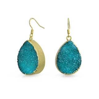 Bling Jewelry Gold Plated Brass Imitation Turquoise Druzy Agate Teardrop Dangle Earrings - Blue