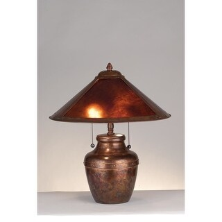 Meyda Tiffany 77774 Craftsman / Mission Accent Table Lamp from the Arts & Crafts Collection - amber mica and washed copper - n/a