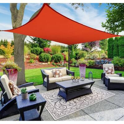 Boen Rectangle Sun Shade Sail Canopy Awning UV Block for Outdoor Patio Garden and Backyard - Red - 8'x12'