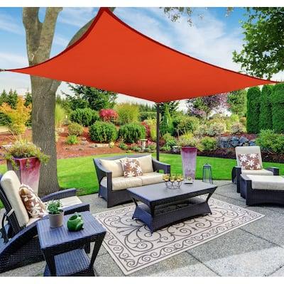 Boen Rectangle Sun Shade Sail Canopy Awning UV Block for Outdoor Patio Garden and Backyard - Red - 10'x13'