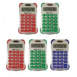 Victor Technology Colorful 8 Digit Handheld Calculator - 5 Each
