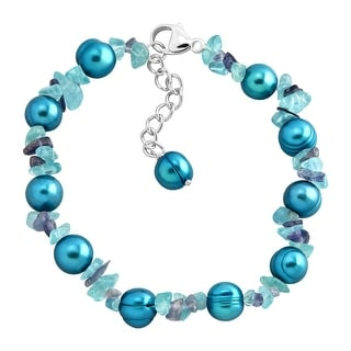 Honora Teal Freshwater Pearl Bracelet with Natural Iolite & Apatite Chips in Sterling Silver - Blue