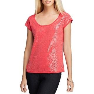 Joan Vass Womens Wate Pullover Top Sequined Cap Sleeves - 3