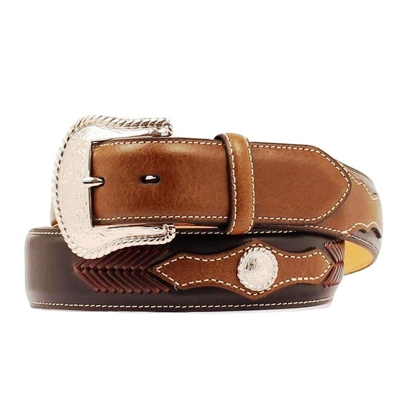 Nocona Western Belt Mens Leather Top Hand Laced Mocha Tan