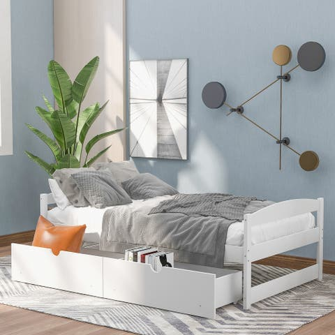 Nestfair Twin Size Platform Bed with 2-Drawers
