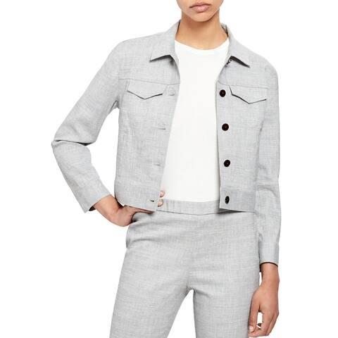 Theory Womens Denim Utility Jacket Linen Cropped - Bluet Melange